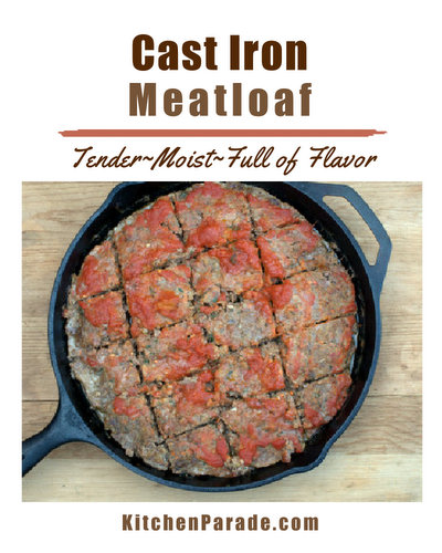 Cast Iron Meatloaf ♥ KitchenParade.com, my go-to meatloaf recipe, tender, moist and full of flavor thanks to milk-soaked bread crumbs and a pile of chopped vegetables that melt into the meatloaf.