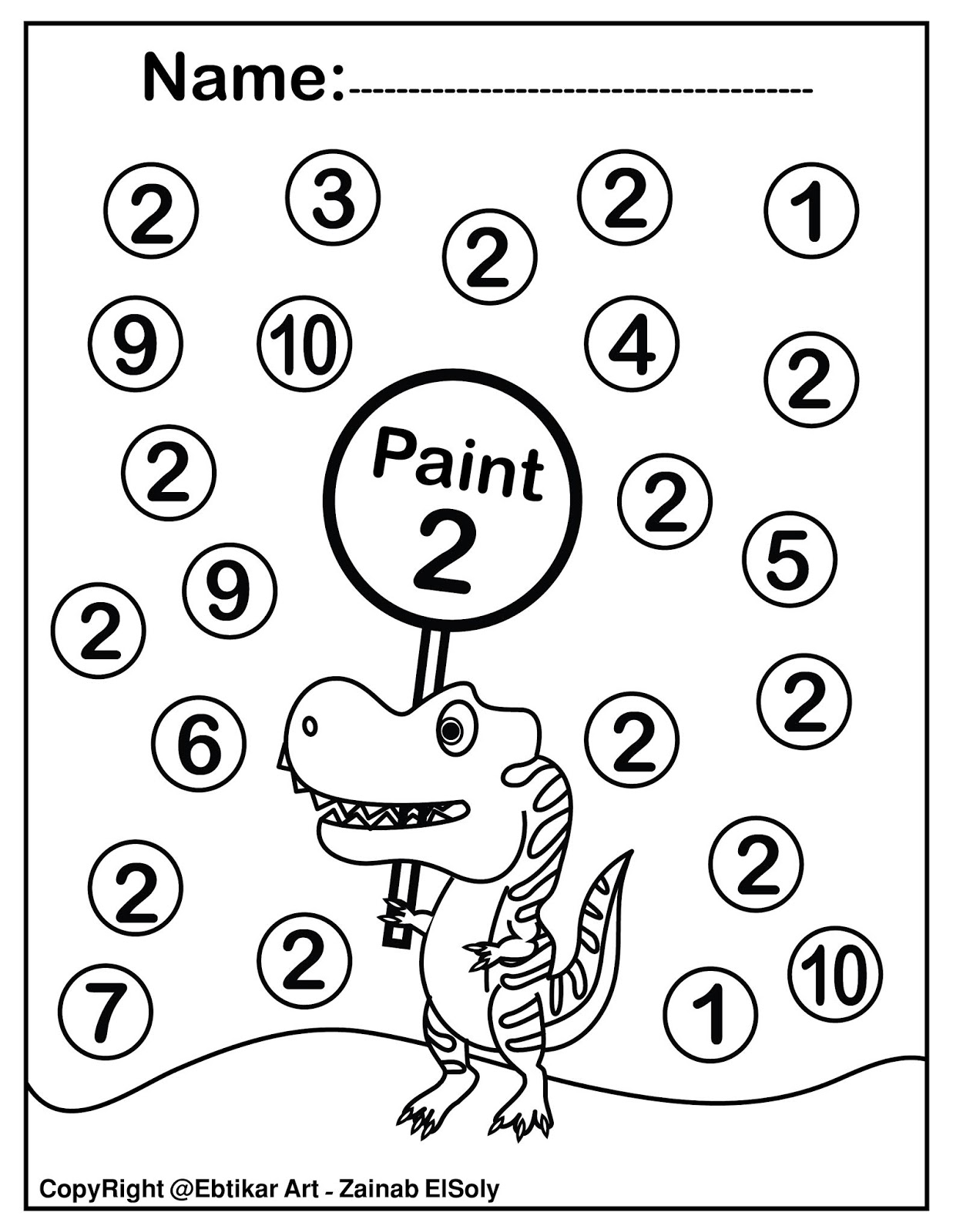 Set Of 123 Dinosaur Trex Activity Paint A Dot Preschool