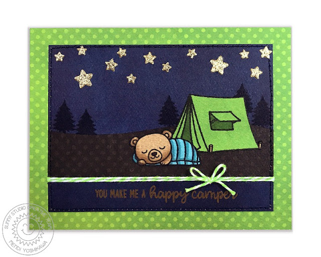 Sunny Studio: You Make Me A Happy Camper Paper-Pieced Critter Campout card by Mendi Yoshikawa