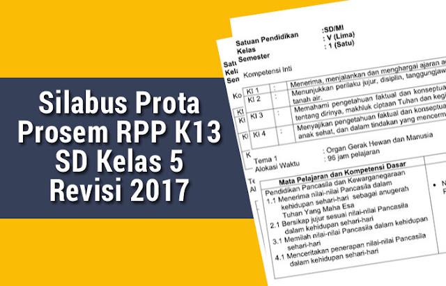 Silabus Prota Prosem RPP K13 SD Kelas 5 Revisi 2017