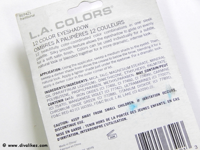 L.A.Colors 12 Color Eyeshadow Traditional Ingredients