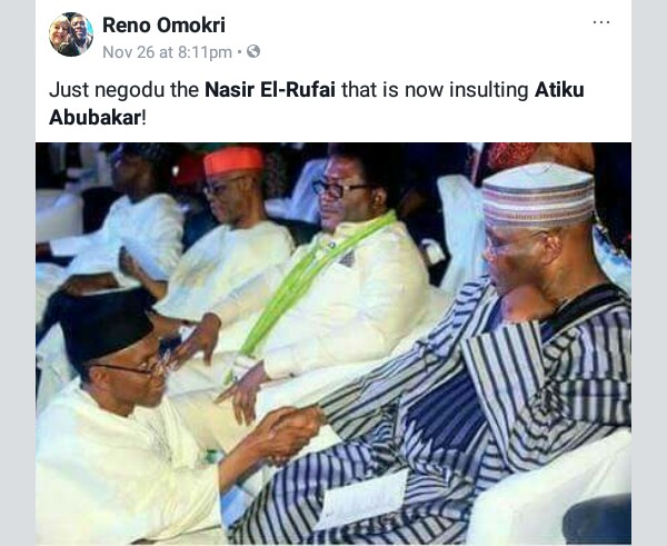 Reno Omokri reminds Governor Nasir Elrufai that he once knelt down before Atiku Abubakar