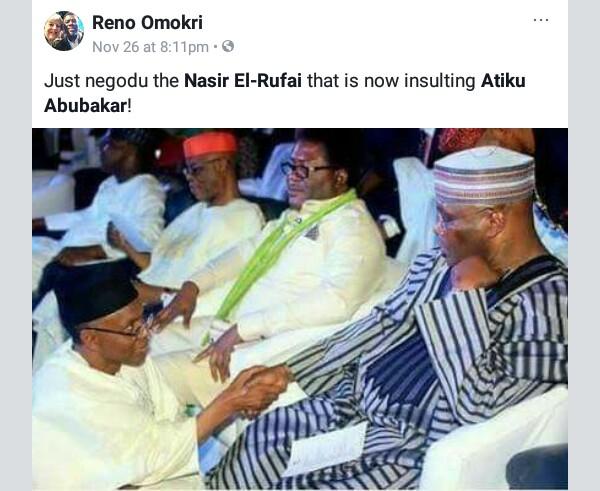 Reno Omokri reminds Governor Nasir Elrufai that he once knelt down before Atiku Abubakar