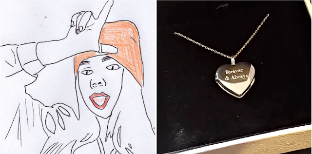 A drawing of Billie Eilish and a silver locket