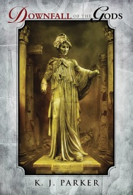 Cover of Downfall of the Gods, featuring a gold-tinged statue of a woman in vaguely Ancient Greek dress. A grey border surrounds the image.