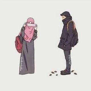 kartun muslimah bercadar Couple
