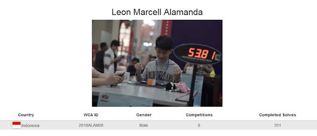 Profile akun WCA dari Leon Marcell Alamanda yang merupakan peringkat keempat nasional dalam menyelesaikan rubik dengan satu tangan