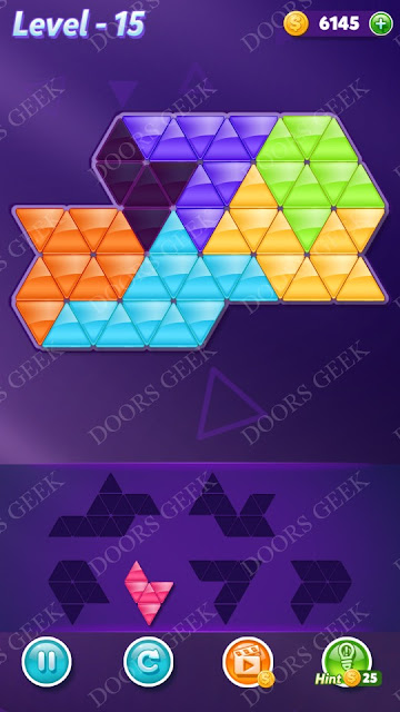 Block! Triangle Puzzle Intermediate Level 15 Solution, Cheats, Walkthrough for Android, iPhone, iPad and iPod
