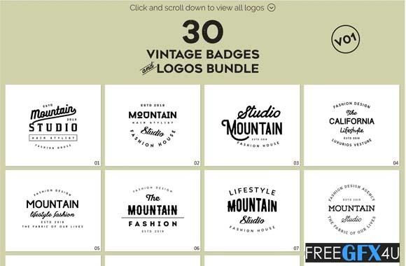Vintage Badges and Logos Pack V01