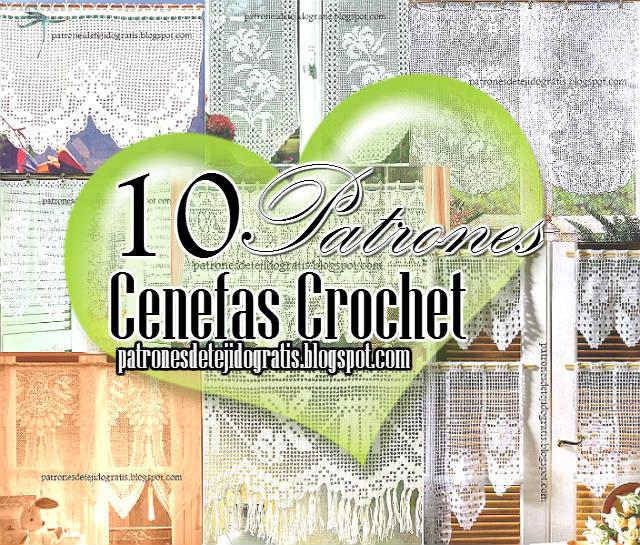 10 patrones de cortinas y cenefas crochet filet | Patrones para Crochet