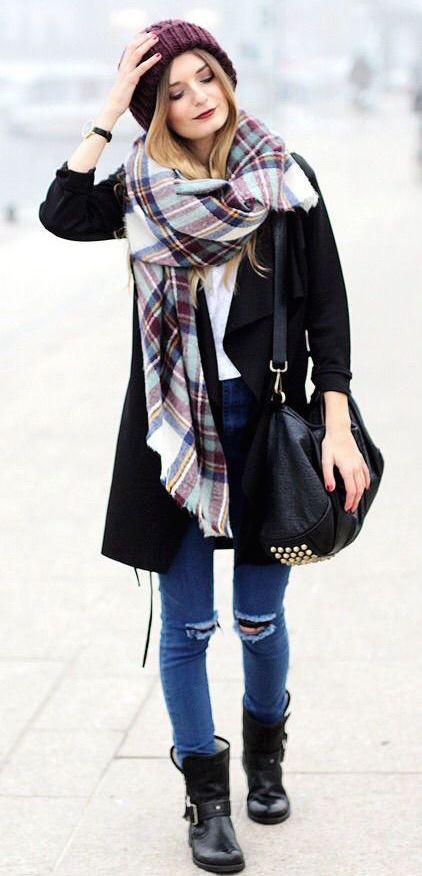 what to wear with a scarf : hat + coat + bag + boots + rips + white top