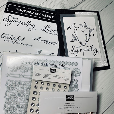 Stamp Set, Dies and Gems used to create card using Stampin' Up! Touch My Heart Stamp Set