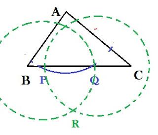 langkah cara melukis garis tinggi segitiga 2