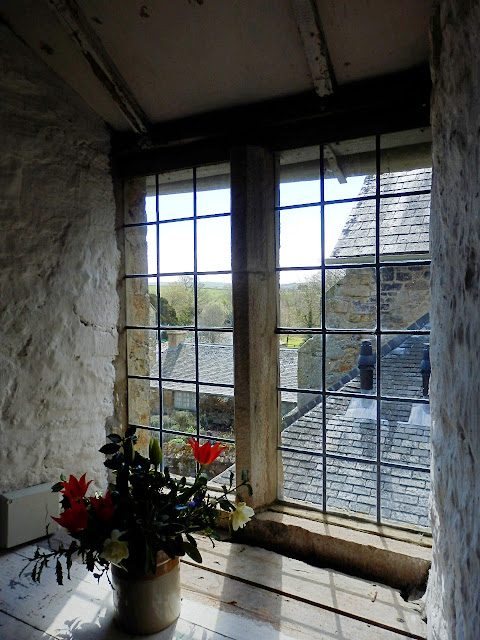 Upstairs room and window at Trerice House, Cornwall