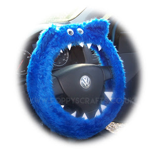 Royal Blue Monster fuzzy steering wheel cover - Poppys Crafts
