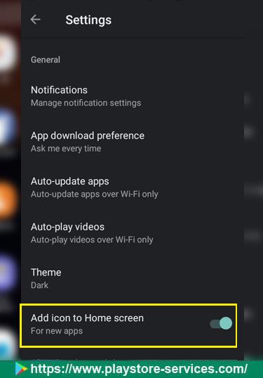 تعطيل الإضافة التلقائية للاختصار إلى الشاشة الرئيسية