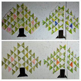 Arranging green HSTs interspersed with a few pink and blue HSTs to create lively pine tree quilt blocks