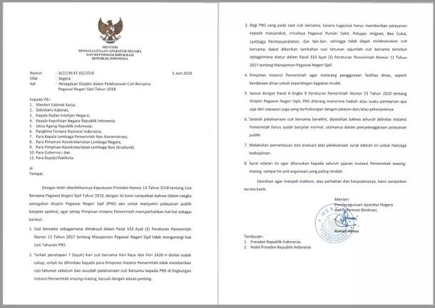 Surat Menteri PANRB tentang Penegakan Disiplin dalam Pelaksanaan Cuti Bersama PNS Tahun 2018