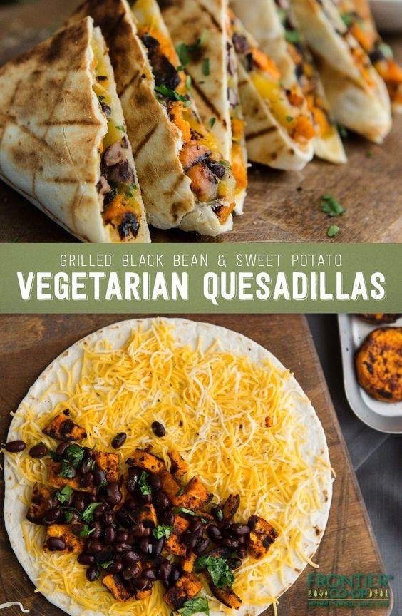 Grilled Black Bean and Sweet Potato Quesadillas