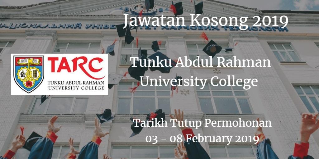 Jawatan Kosong TARUC 03 - 08 February 2019