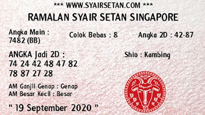 Kode syair Singapore Sabtu 19 September 2020 60