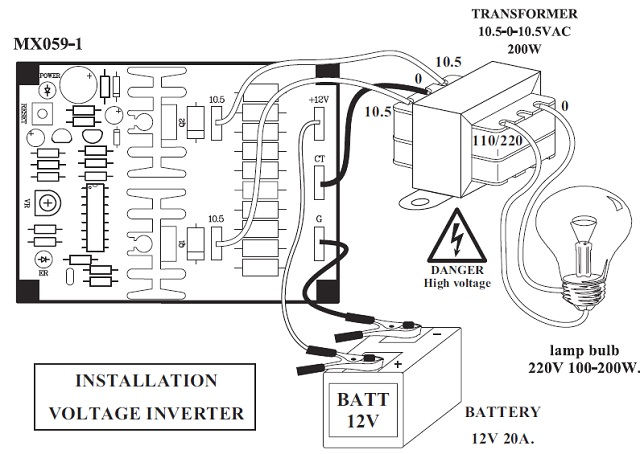 voltage inverter 12vdc to 110  220vac  installation voltage