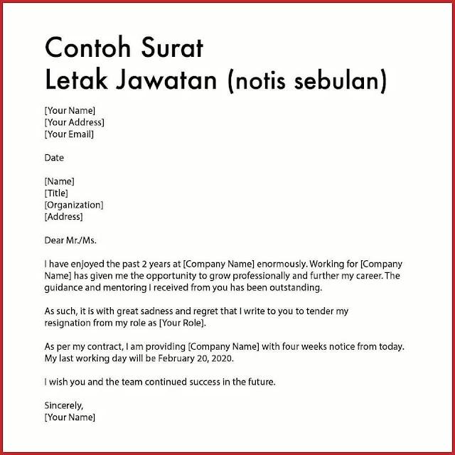 Contoh Surat Letak Jawatan (Notis Sebulan)