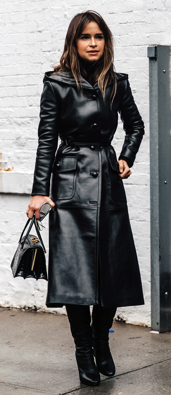 Leather Coat Daydreams: Miroslava Duma black leather ...