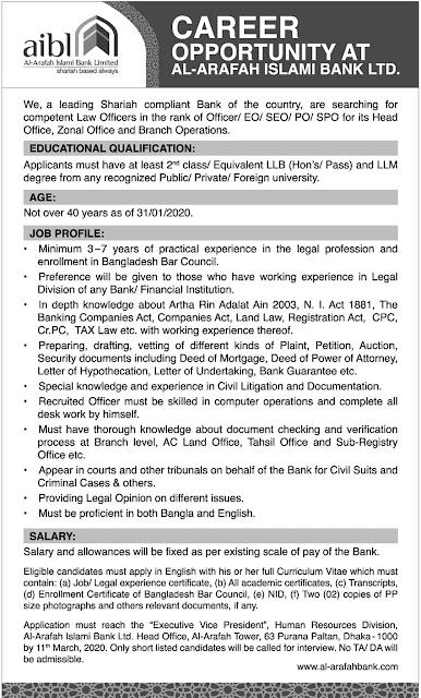 Al-Arafah Islami Bank Job Circular 2020