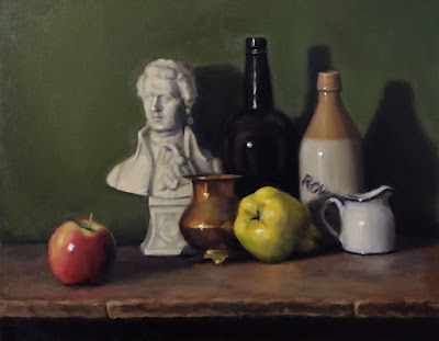 Still life oil painting featuring an apple and a quince, also with a ceramic bust, a copper vase, a small milk jug and two bottles