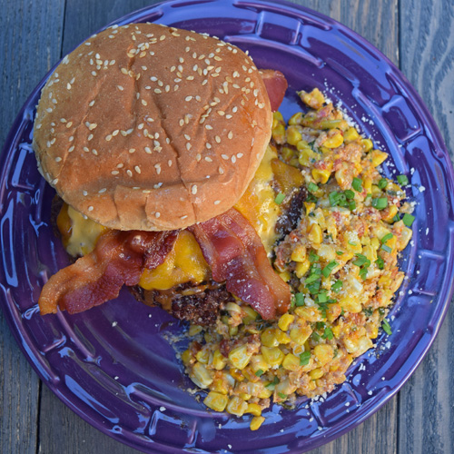 Chorizo Beef Cheeseburgers with Tex-Mex Style Maque Choux