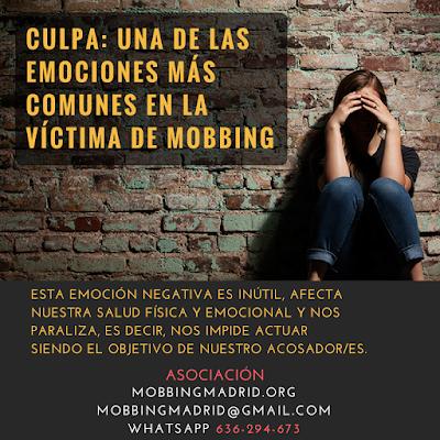 #MobbingMadrid Culpa: una de las emociones negativas más comunes en la víctima de #AcosoLaboral