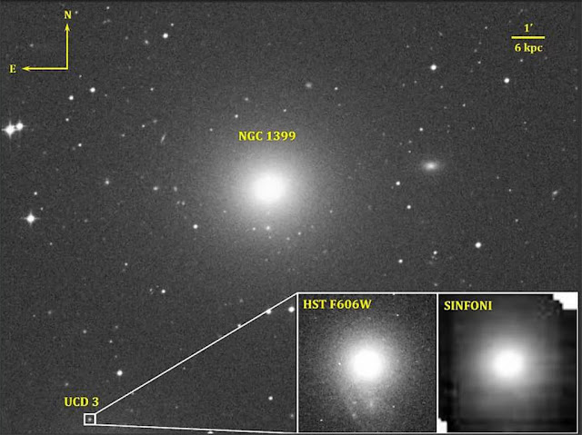 Galáxia NGC 1399 e sua galáxia satélite Fornax UCD3