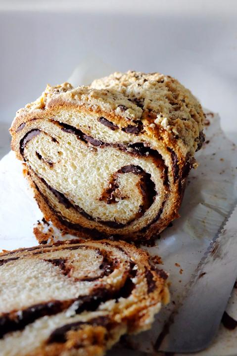 sliced chocolate swirled coffee cake bread