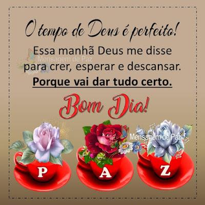 O tempo de Deus é perfeito! Essa manhã Deus me disse  para crer, esperar e descansar.  Porque vai dar tudo certo. Bom Dia!