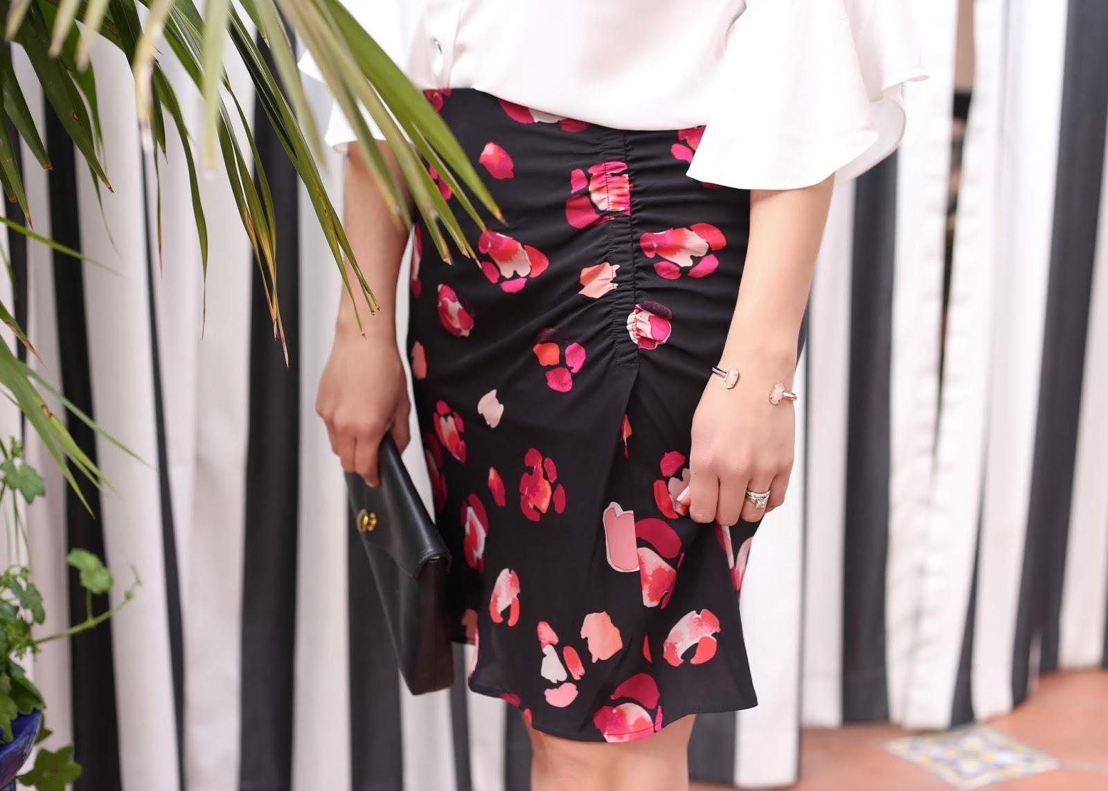 cabi petal skirt, Kendra Scott cuff