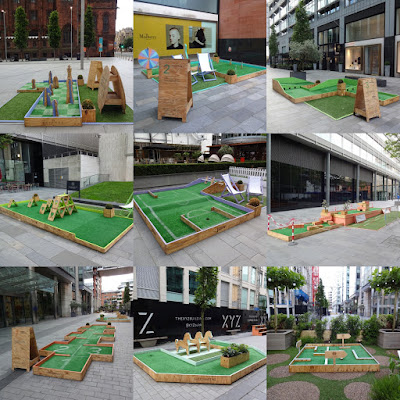 Tee Party Crazy Golf at The Club House in Spinningfields, Manchester. July 2016.