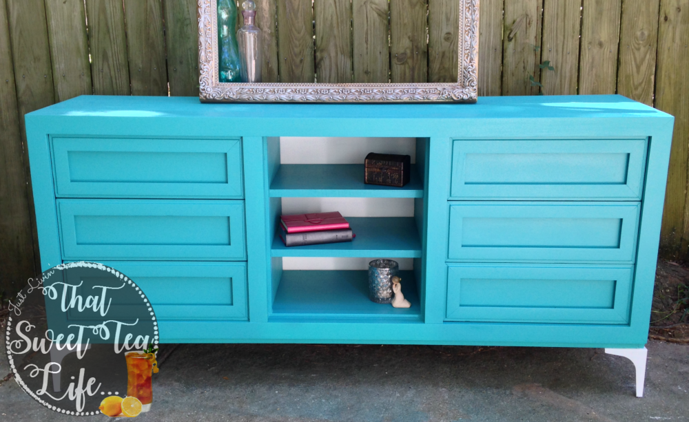 Create a media stand you love from an old dresser! front view #dresserconversion #repurposedresser #Olddressersideas #howtoputashelfinadresser #convertdresserdrawerstodoors #howtorepurposeadresserwithoutdrawers #howtoturndresserdrawersintoshelves #howtoturnadresserintoabookcase #repurposeddressertvstand