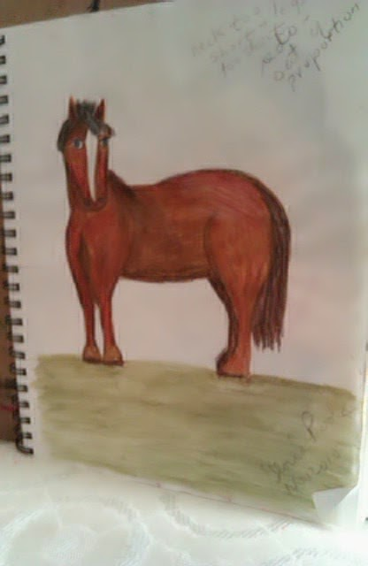 "First horse I ever drew"" in Atlanta, GA about 1995 by Gloria Poole"