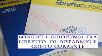 bonifici libretto postale conto corrente