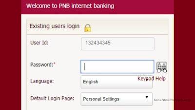 PNB Net Banking Login process