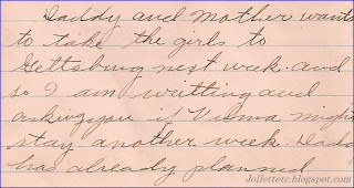 Letter from Olive Williams to Mary Frances Jollett Davis 1925