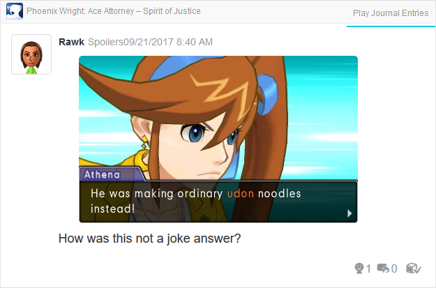 Phoenix Wright Ace Attorney Spirit of Justice Athena ordinary udon noodles