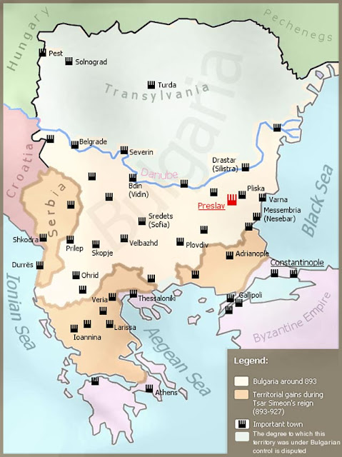 Map of Symeon I of Bulgaria's empire byzantium.filminspector.com