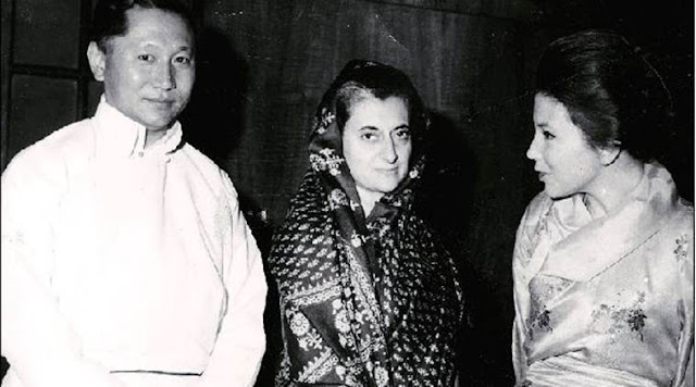 Indira Gandhi with Sikkim King Palden Thondup Namgyal and his wife in New Delhi in February 1966