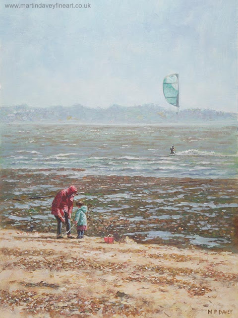 winter day Lepe Hampshire beach acrylic art