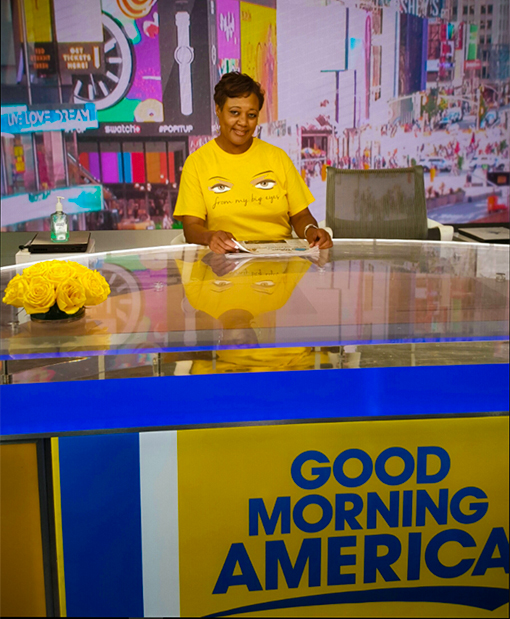 Janet on the set of Good Morning America