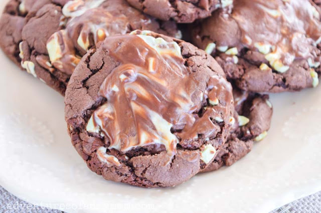 plate of mint chocolate cookies