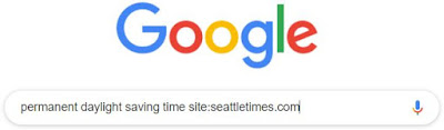 Image showing Google search bar with search phrase permanent daylight saving time site:seattletimes.com