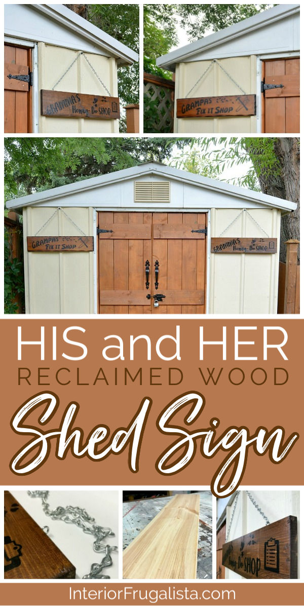 "How to get the look of a wood-burned sign with paint! A fun DIY salvaged junk wood ""faux wood-burned"" Garden Shed Sign that matches the real thing! #fauxwoodburnedsign #handmadegardenshedsign #homemadeoutdoorsign"